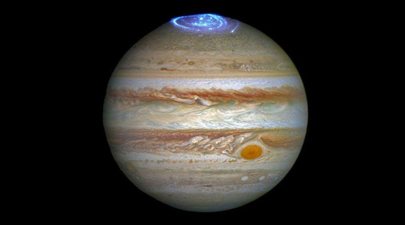 Jupiter met poolicht