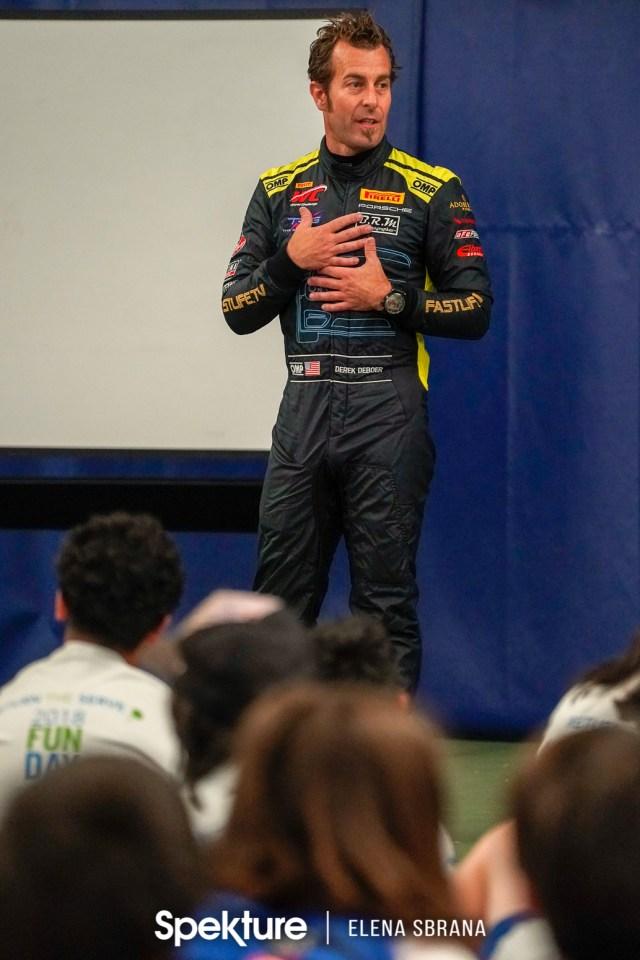 Earchphoto -Derek De Boer speaking to young athletes.