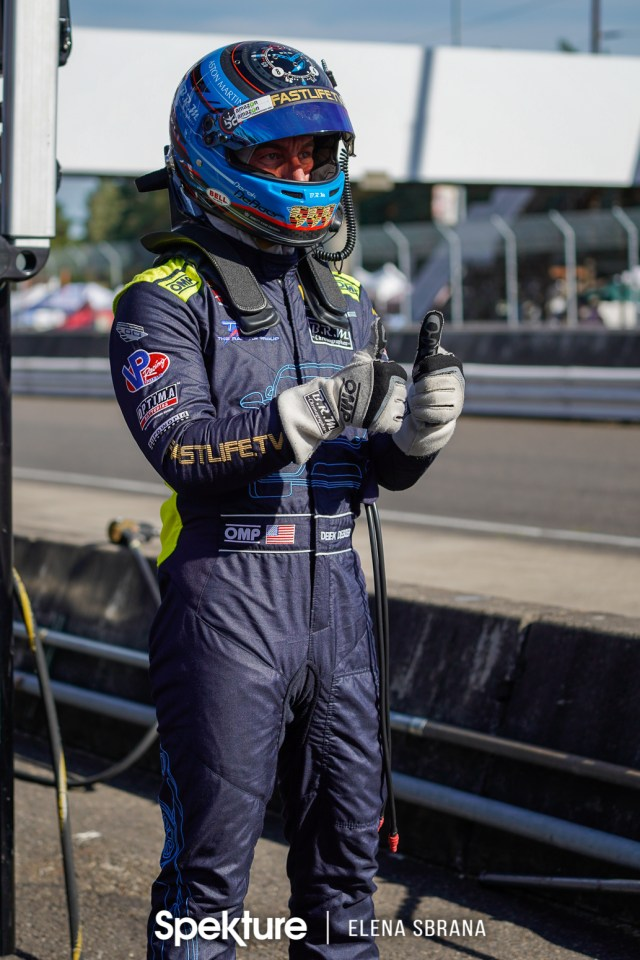 Earchphoto - Derek in pit lane ready for driver change at PIR.