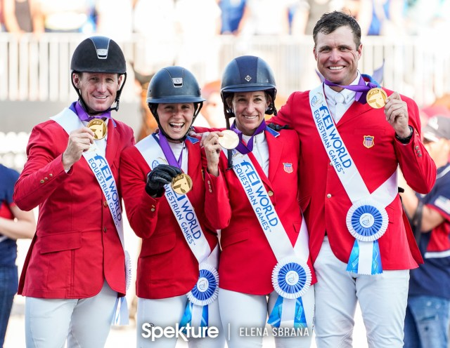 Earchphoto - The US Show Jumping Team on the podium at the 2018 World Equestrian Games in Tryon NC