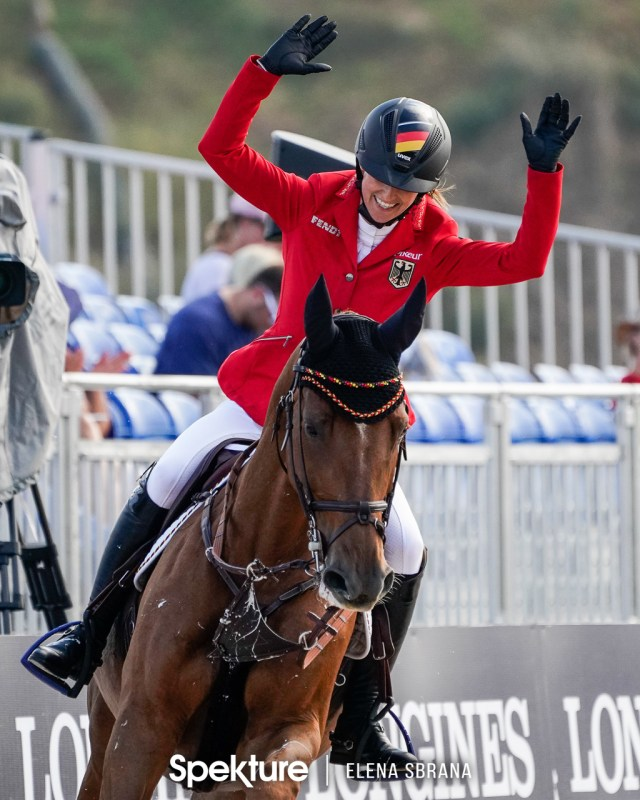 Earchphoto - Simone Blum of Germany celebrates a clear round at the 2018 World Equestrian Games in Tryon NC