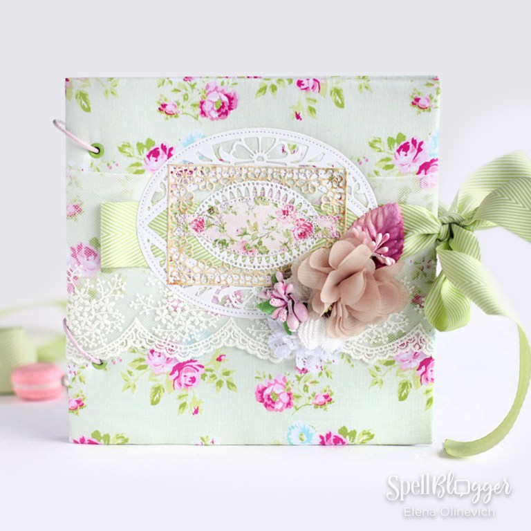 Baby Girl Scrapbook Album Cover with Die-Cutting and Stitching by Elena Olinevich for Spellbinders