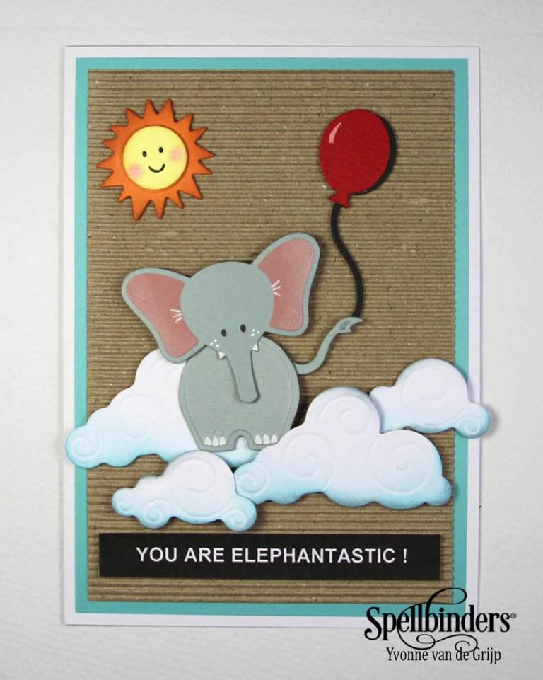 Cute layered Elephantastic card with My Little Red Wagon by Debi Adams and Die D-lites Spellbinders