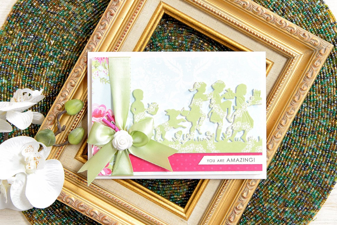 Quick Technique | You Are Amazing Card with Party Kids Die. Project by Yana Smakula for Spellbinders