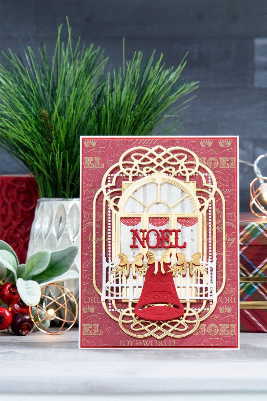 Layered Dimensional Die Cutting. Episode #5 - Christmas Balcony Card by Yana Smakula for Spellbinders using: S2-080 Garden Gate Dies S2-266 Ho Ho Ho Dies S3-272 Build a Stocking Dies S3-271 Holiday Bell Dies S4-632 Holly Berry Wreath Dies S5-266 Decorative Flower Box Dies S5-308 Hemstitch Rectangles Dies S6-081 Ornamental Crest Dies