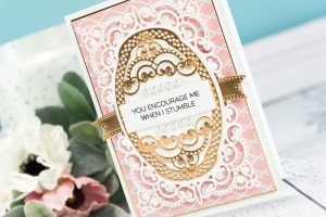 Cardmaking Inspiration   You Encourage Me When I Stumble Card by Yana Smakula for Spellbinders. Using: S4-820 Vintage Pierced Banners, S5-327 Anabelle's Trousseau Layering Frame Medium dies