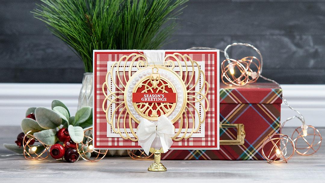 Cardmaking Inspiration | Season's Greetings Card by Yana Smakula for Spellbinders using S4-760 Gilded Ornaments Dies, S5-308 Hemstitch Rectangles Dies, S5-309 Marcheline Plume Dies #christmascard #spellbinders #diecutting