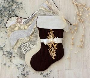 Stocking Mini Album with Elena Olinevich for Spellbinders using S4-767 Twirling Vines, S4–818 Eliza lace Corners dies #spellbinders #scrapbooking #christmasalbum