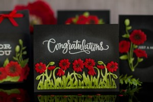 Lavender & Poppies Inspiration with Elena Salo for Spellbinders. Created using S3-293 Field of Poppies, S3-292 Corner Poppies, S4-815 Poppies dies. #spellbinders #cardmaking #diecutting #handmadecards