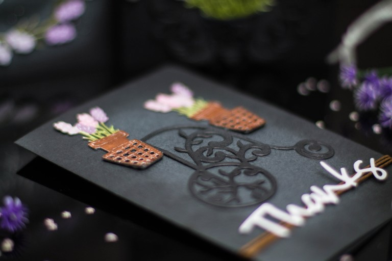 Lavender & Poppies Inspiration with Elena. Take 2: Purple and Black! Handmade cards using S3-290 Lavender Bunch S4-563 Phrase Set One S4-838 Lavender Trike S5-321 Eau De Lavender Label. #spellbinders #handmadecard #diecutting #neverstopmaking #lavendercard