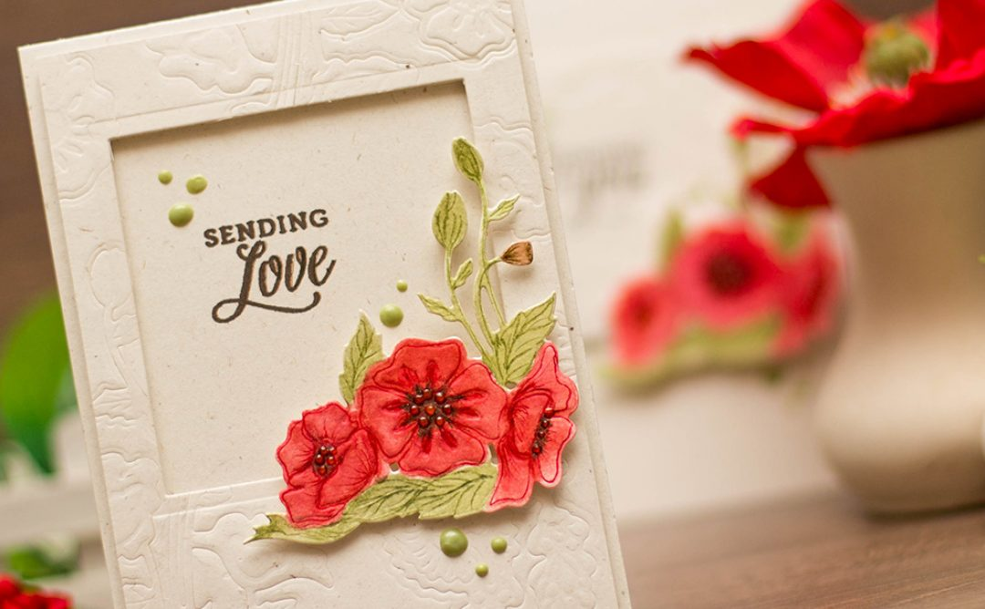 Lavender & Poppies Inspiration | Handmade Card with Dry Embossed Panels