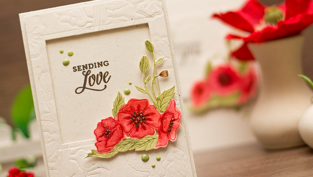 Lavender & Poppies Inspiration with Elena Salo for Spellbinders using S3-291 Poppy & Lavender Spray, S3-292 Corner Poppies, S4-815 Poppies #spellbinders #cardmaking #diecutting #poppies