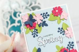 Cardmaking Inspiration | Happy Spring Card by Yana Smakula for Spellbinders using Four Seasons collection by Lene Lok Using S3-308 Seasonal Words, S5-338 Wreath Elements #spellbinders #neverstopmaking #diecutting #cardmaking #handmadecard