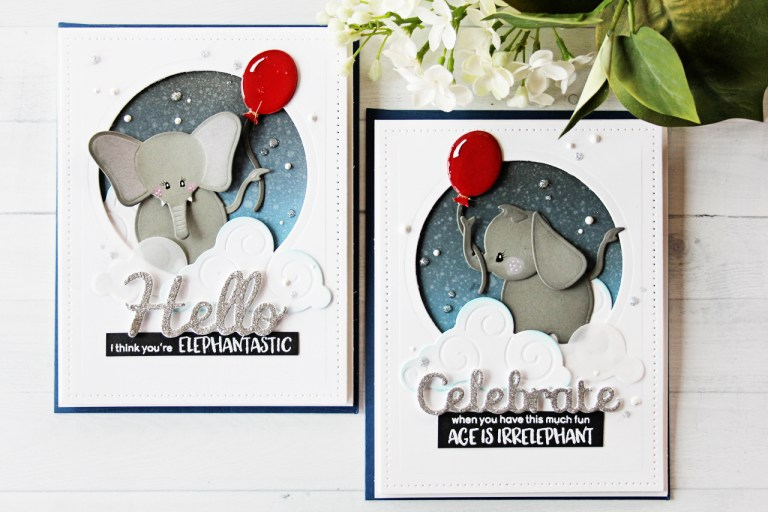 Video Friday | Elephantastic Embellishing with Nichol for Spellbinders. Using S4-782 Ella-phant by Debi Adams, S2-273 Sun and Clouds, S4-564 Simply Said Phrase Set Two, SCD-009 Pierced Circles, SCD-012 Pierced Rectangles #spellbinders #cardmaking #handmadecard #neverstopmaking #diecutting