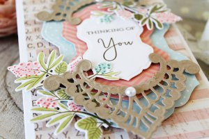 Chantilly Paper Lace Collection by Becca Feeken. Inspiration   Elegant Floral Cards by Melissa Phillips for Spellbinders. Using S4-817 Breanna's Corset Label, S4-818 Eliza Lace Corners, S5-328 Tallulah Frill Layering Frame Small. #spellbinders #neverstopmaking #diecutting #handmade card