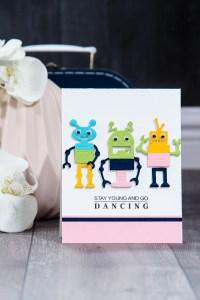 Spellbinders Stay Young and Go Dancing Card by Yana Smakula using S3-309 Robots dies. #cardmaking #diecutting #spellbinders #neverstopmaking