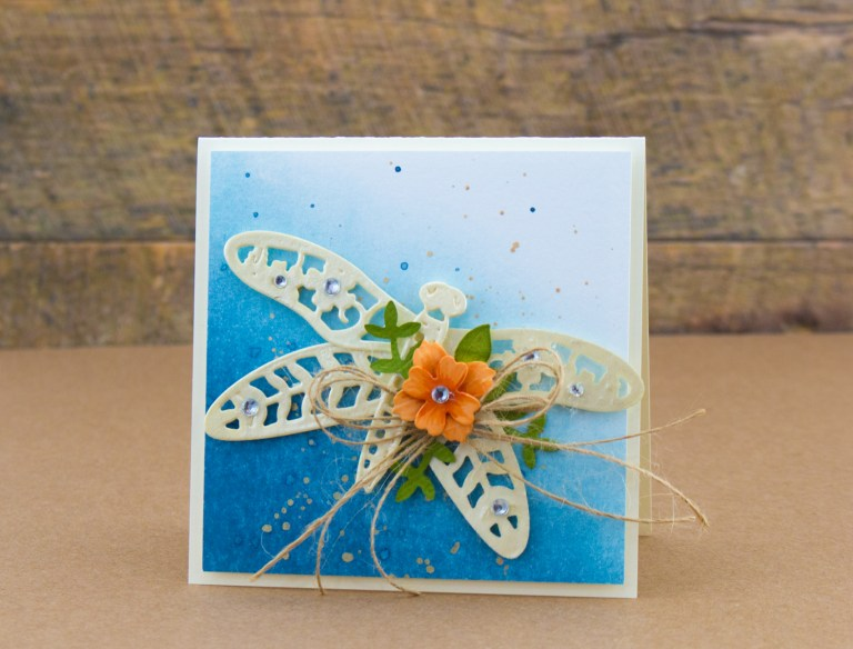 Flower Garden Collection by Sharyn Sowell - Inspiration | Botanical Dragonfly Card with Cynde. Video tutorial using S2-285 Bird on Cherry Branch, S2-287 Botanical Dragonfly, S4-847 Floral Panel Card, S5-339 Tiny Shadow Box. #spellbinders #diecutting #handmadecard #cardmaking