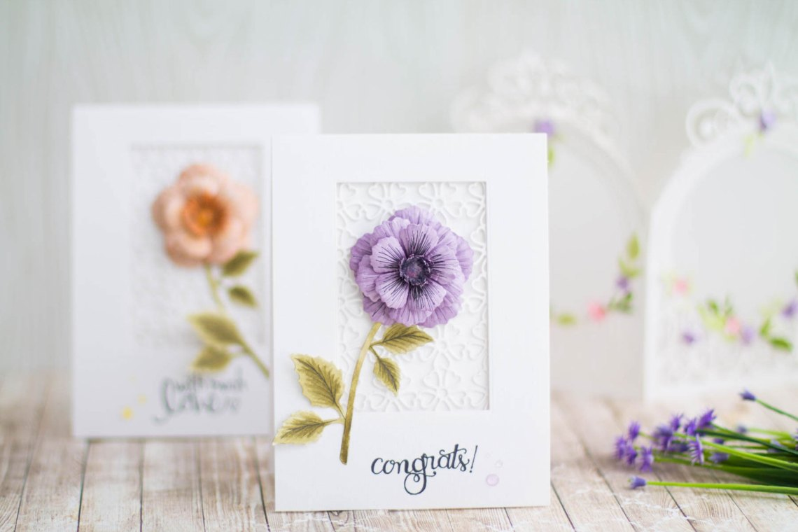 Blooming Garden Collection by Marisa Job - Inspiration | Floral Cards by Elena Salo for Spellbinders using S4-916 Blooming Rose, S5-358 Swirl Happy Birthday Frame, S6-146 Heart Flower Box, SBS-138 Cling Stamp Set #spellbinders #diecutting #handmadecard #neverstopmaking #diecut
