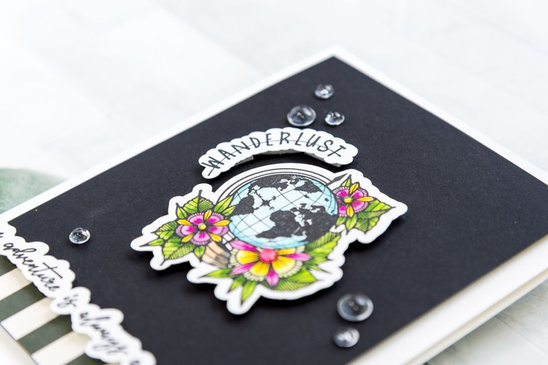 Spellbinders Inked Messages Collection Inspiration | An Adventure Card Featuring Wanderlust Stamp and Die Set by Stephanie Low #spellbinders #neverstopmaking #stamping #handmadecard #cardmaking
