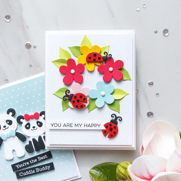 Cardmaking Inspiration   You Are My Happy Card Featuring Lady Bug Garden by Yana Smakula for Spellbinders. S3-316 Lady Bug Garden #spellbinders #diecutting #handmadecard #neverstopmaking