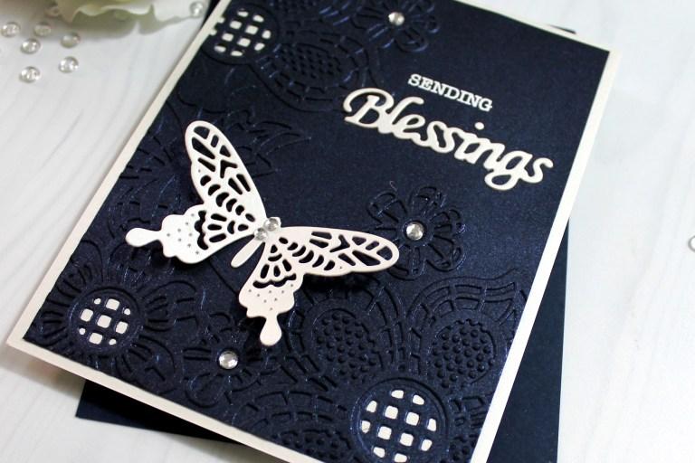Spellbinders Cut & Emboss Folders Inspiration | Blessings Card with Ilina #spellbinders #neverstopmaking