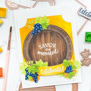 Spellbinders Wine Country Collection Inspiration | Savor the Moment Card with Mona Toth featuring S4-878 Frame Charms, S4-880 Labels 59 Decorative Accents, S4-879 Labels 59, SDS-133 Vineyard Wine Bottle Tag, SDS-135 Barrel of Sentiments #spellbinders #neverstopmaking #diecutting