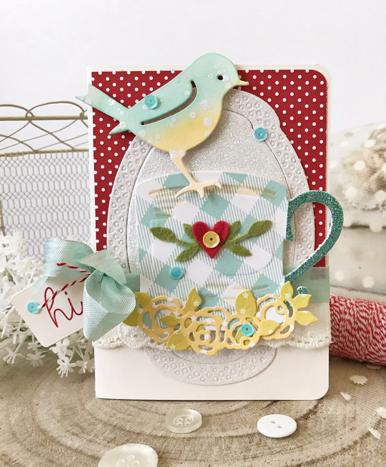 Spellbinders Cuppa Coffee, Cuppa Tea Collection by Sharyn Sowell - Inspiration | Robin & Rosy Mug Card with Melissa Phillips featuring S4-950 Robin & Rosy Mug, S2-299 Cuppa Love, S5-327 Annabelle's Trousseau Layering Frame Medium #spellbinders #neverstopmaking #sharynsowell #diecutting