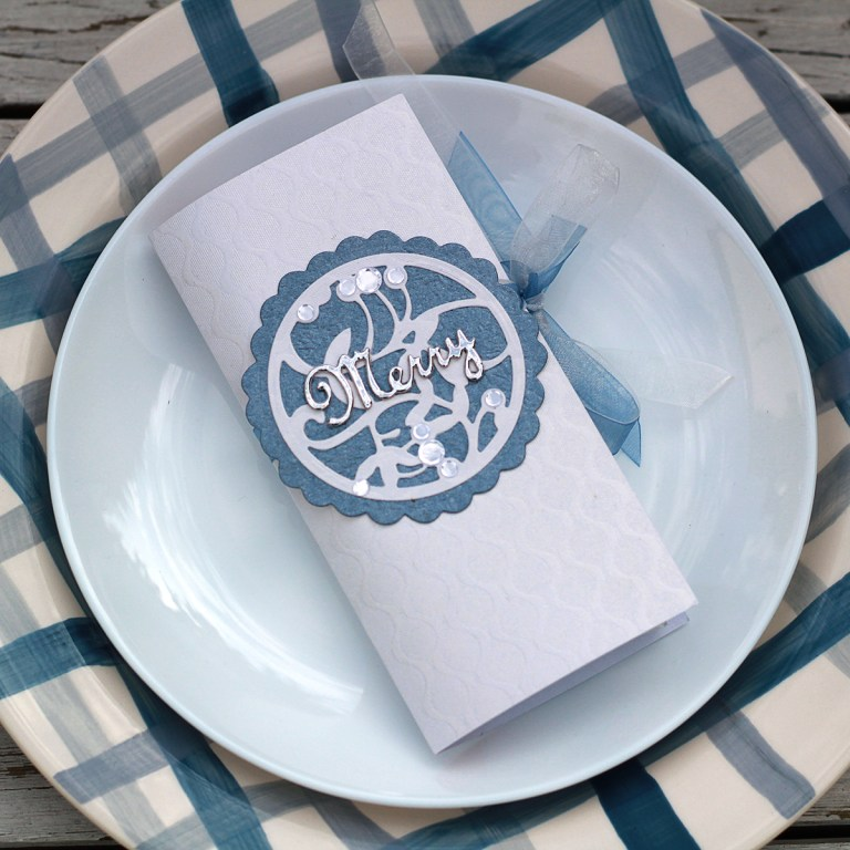 Video Friday   Blue and White Christmas with Olga for Spellbinders featuring S4-938 Mistletoe Gatefold S3-344 Mistletoe Doily S4-941 From Our Home to Yours #spellbinders #neverstopmaking #diecutting #sharynsowell