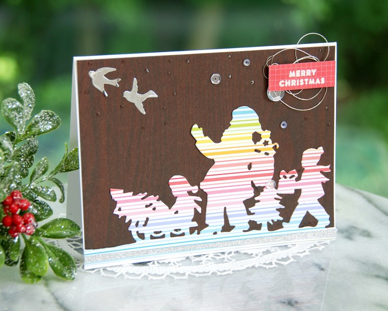 Spellbinders A Sweet Christmas Collection by Sharyn Sowell - Inspiration | Love & Joy Card with Virginia featuring S5-373 Santa Parade #spellbinders #neverstopmaking #sharynsowell
