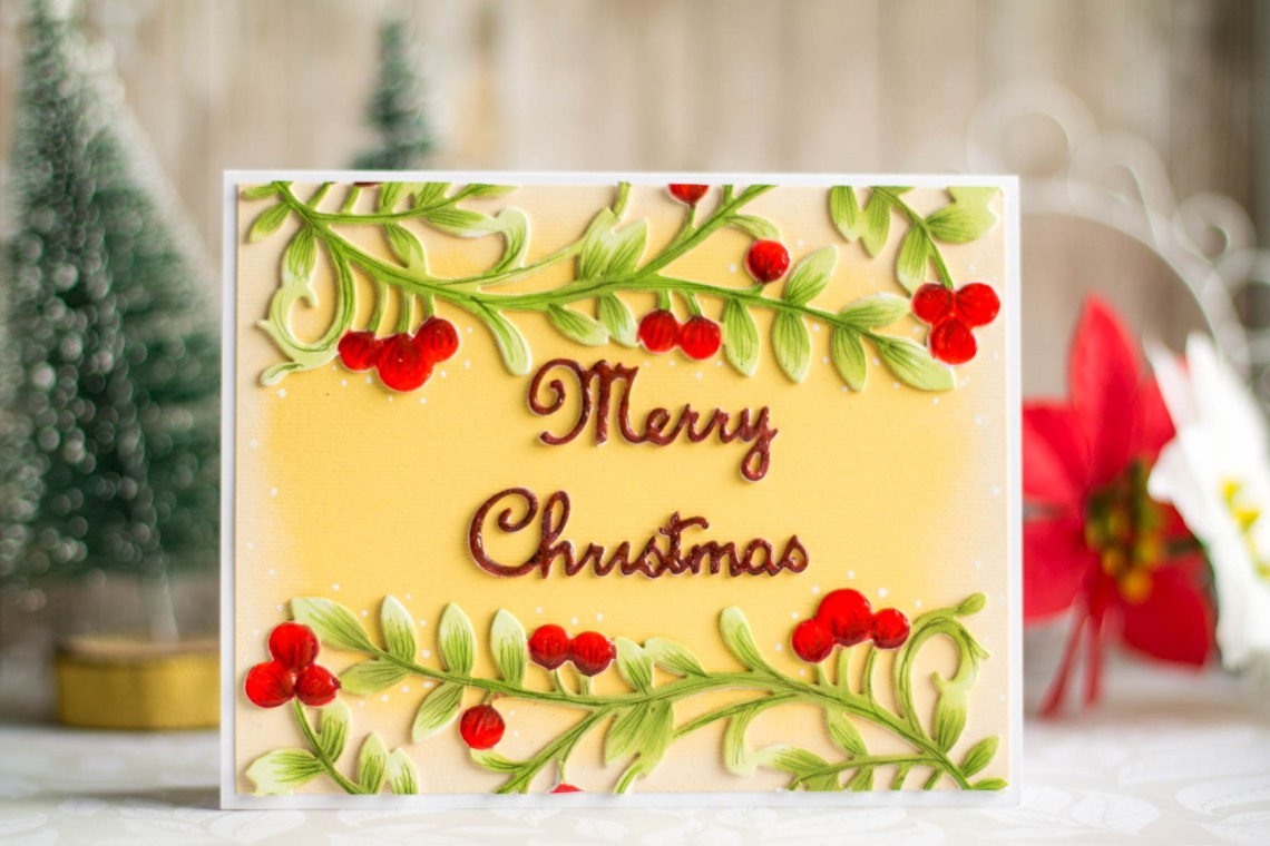Spellbinders A Sweet Christmas Collection by Sharyn Sowell Inspiration   Die Cut & Colored Christmas Card with Elena Salo #spellbinders #neverstopmaking #sharynsowell