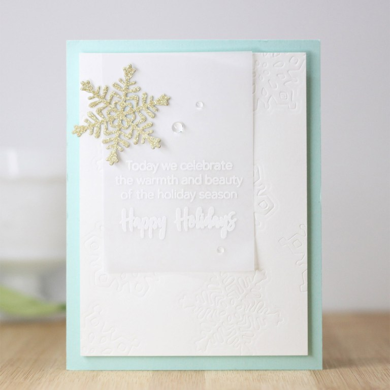 Spellbinders Die D-Lites Holiday Inspiration | Jumping into Christmas Cards with Laurie Willison featuring S3-362 Snowflake, S5-132 A-2 Matting Basics dies #spellbinders #neverstopmaking #diecutting