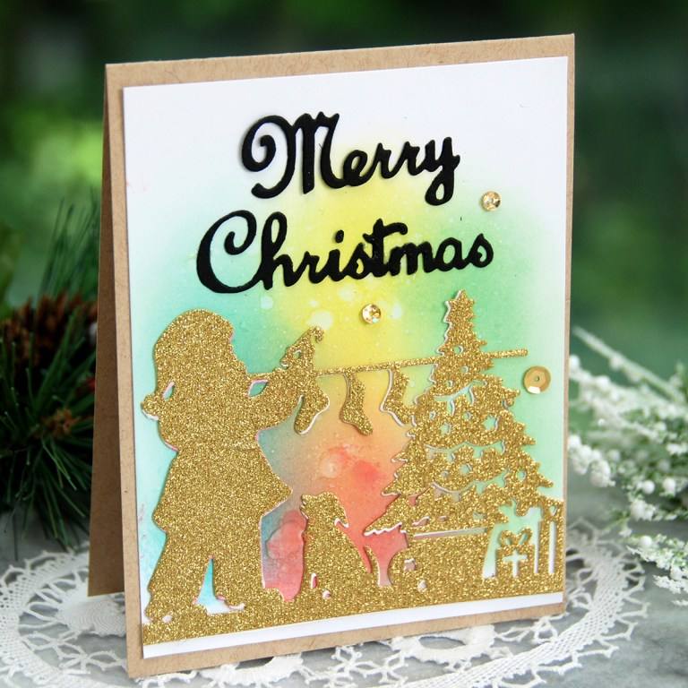 Spellbinders A Sweet Christmas Collection by Sharyn Sowell - Inspiration | Merry Christmas Card with Virginia featuring S4-937 Hanging Stocking, S5-373 Santa Parade #spellbinders #neverstopmaking #diecutting #sharynsowell