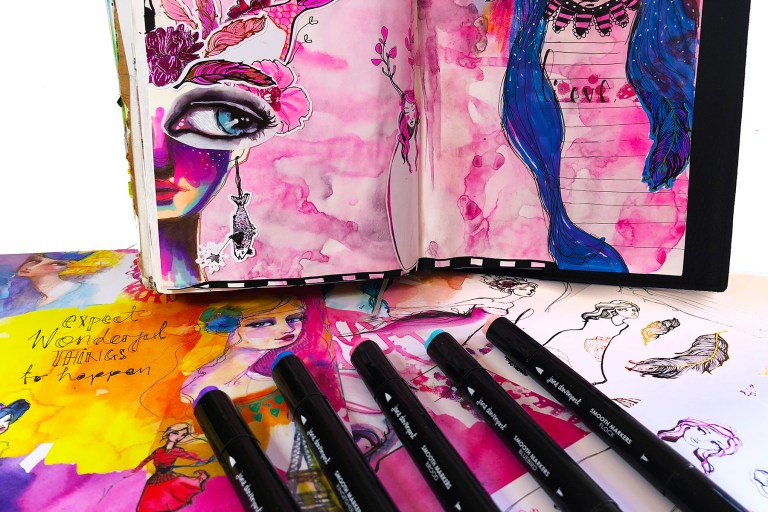 Spellbinders Jane Davenport Artomology | Journal Girls with Courtney Diaz #janedavenport #janedavenportartomology #Artomology #spellbinders #neverstopmaking #smoothmarkers #makeitwithmichaels #washisheets