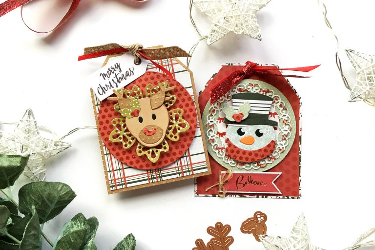 Spellbinders Die D-Lites Holiday Inspiration | It's Christmas with Enza Gudor featuring S3-361 Christmas Tree, S3-359 Santa, S3-360 Snowman, S3-358 Reindeer. #spellbinders #neverstopmaking #diecutting