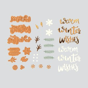 Spellbinders December 2018 Card Kit of the Month – Winter Wishes! Warm Winter Wishes Card. Step 1