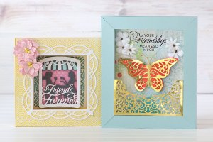 Spellbinders Shadowbox Collection by Becca Feeken - Inspiration | Colorful Shadowboxes by Jean Manis