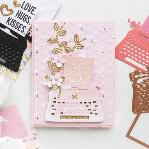 You're My Type - Spellbinders January 2019 Card Kit of the Month Typewriter Die Cards. Love Card by Yana Smakula for Spellbinders