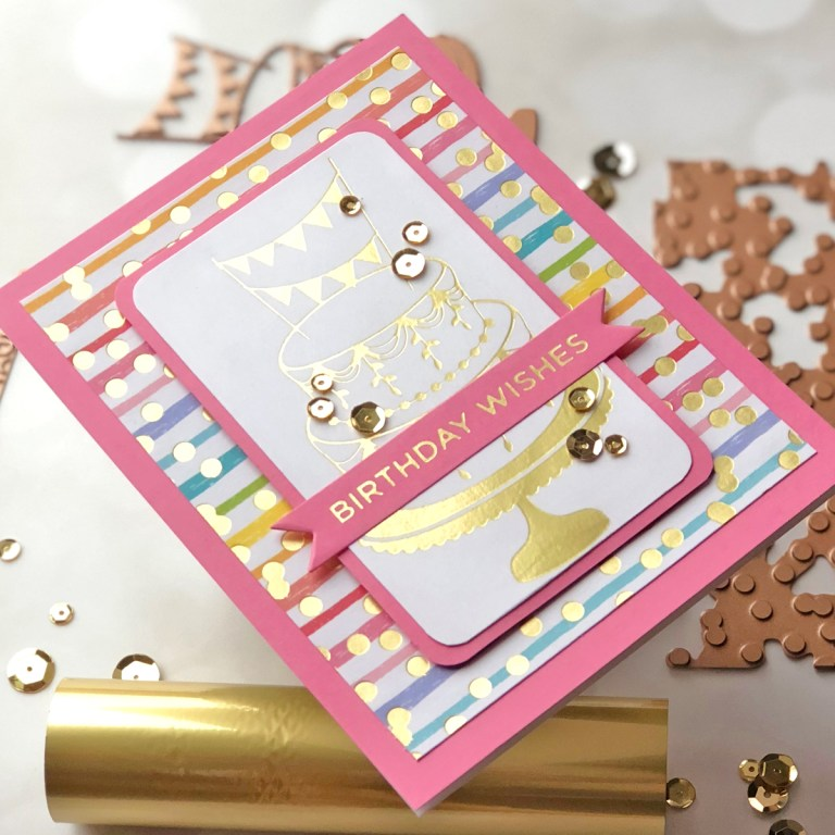 Spellbinders Glimmer Hot Foil Inspiration | Foiled Cards with Brenda. Feminine Birthday Wishes Foiled Card