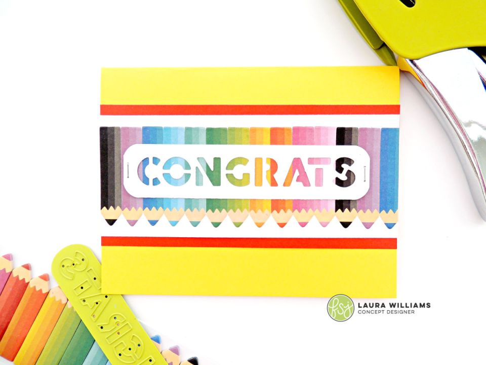 Handmade congrats card perfect for students, graduates, or teachers. It features Rainbow Pencils sticky notes from Fun Stampers Journey. They are perfect for planners and to-do lists but look darling as embellishments for handmade cards. #funstampersjourney #planneraddict #papercrafts #cardmaking