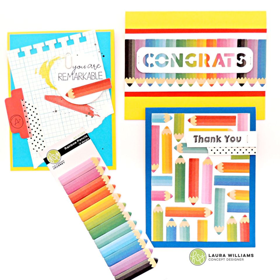 Three handmade cards featuring planner accessories, like Fun Stampers Journey Rainbow Pencils Sticky Notes. Paper clips, washi tape, and staples are all items perfect for planners and to-do lists, but they look fantastic on handmade cards too! #funstampersjourney #planner #cardmaking #stamping