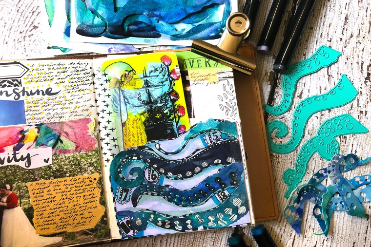 Jane Davenport NEW Artomology Collection | Highlight Your Life with Courtney Diaz. Watch video tutorial for the how-to: Mixed Media Journal Page #spellbinders #janedavenport #janedavenportartomology