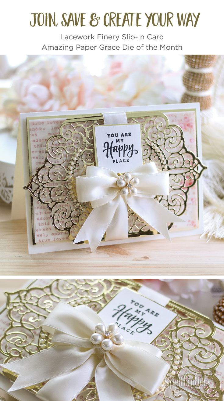 January 2019 Amazing Paper Grace Die of the Month – Lacework Finery Slip-In Card