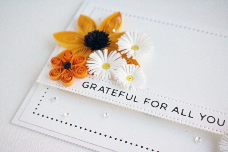 Spellbinders Modern Essentials Collection -  Inspiration | Quilled Thank You Card Trio with Niki #Spellbinders #NeverStopMaking #GlimmerHotFoilSystem #HotFoiling