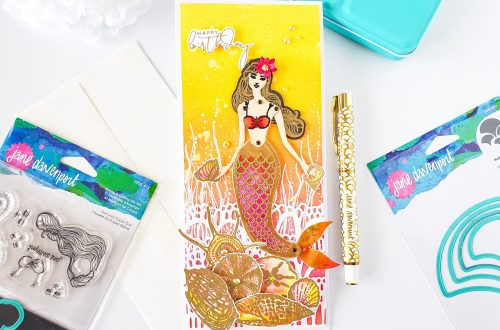 Marvelous Mermaids Collection by Jane Davenport | Slimline Mermaid Birthday Card with Yasmin Diaz