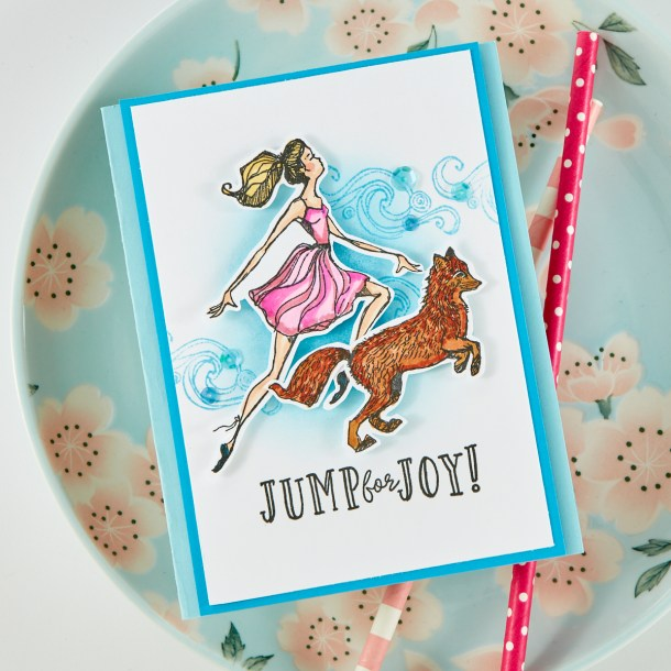 Spellbinders Cardmaking Inspiration | Jump For Joy Card Featuring Jane Davenport Clear Stamps Fairytale Fox (JDS-052) with Kim Kesti #Spellbinders #Cardmaking #NeverStopMaking #Stamping