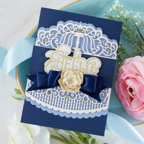 Spellbinders Cardmaking Inspiration | Hello Card Featuring Candlewick Colonnade Border with Kim Kesti #Spellbinders #NeverStopMaking #GlimmerHotFoilSystem