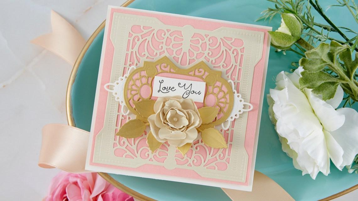 Spellbinders Cardmaking Inspiration | Love You Card Featuring Grand Antiquities Square with Kim Kesti #Spellbinders #NeverStopMaking