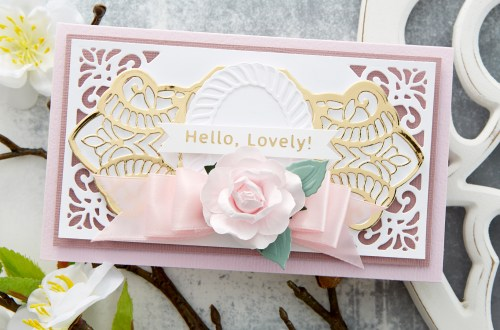 Spellbinders Cardmaking Inspiration | Hello, Lovely! Card Featuring Elegant Twist Splendid Trilliant by Becca Feeken #Spellbinders #NeverStopMaking #Cardmaking #AmazingPaperGrace