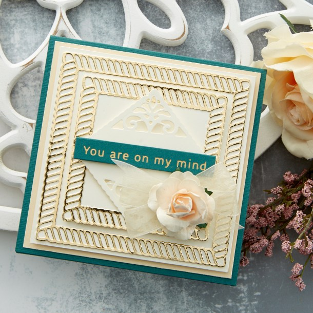 Spellbinders Cardmaking Inspiration | On My Mind Card Featuring Elegant Twist Squares by Becca Feeken #Spellbinders #NeverStopMaking #Cardmaking #AmazingPaperGrace
