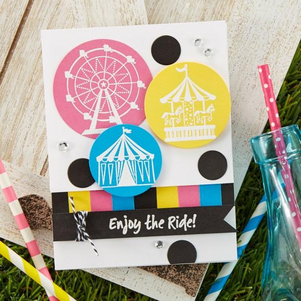 Enjoy The Ride Card. Spellbinders / Fun Stampers Journey Happy Place Project Kit is Here! #Spellbinders #NeverStopMaking #Cardmaking